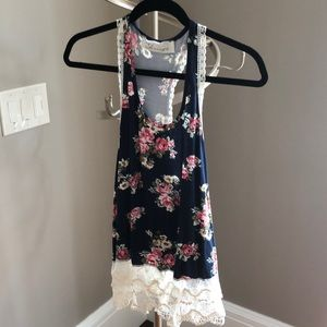 Blue and Pink Floral Top with Lace